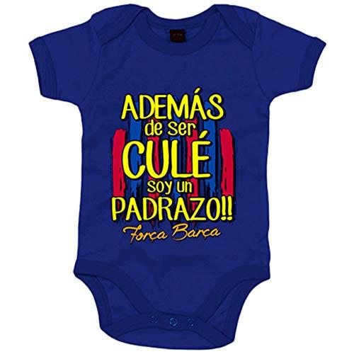 Body bebé además de ser del Barcelona soy un padrazo - Azul Royal, 12-18 meses