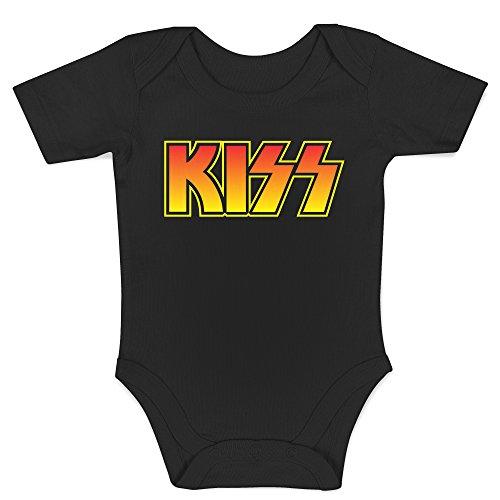 LaMAGLIERIA Body Bebè Kiss Coloured Logo - Body Metal Rock 100% Algodon, 0-3 Meses, Negro