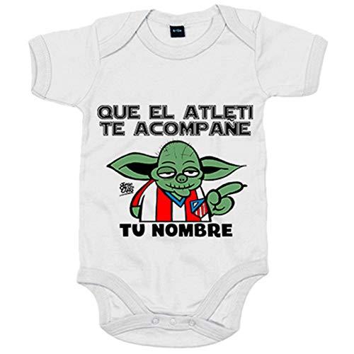 Body bebé Que el Atleti te acompañe parodia de las galaxias personalizable con nombre - Blanco,...