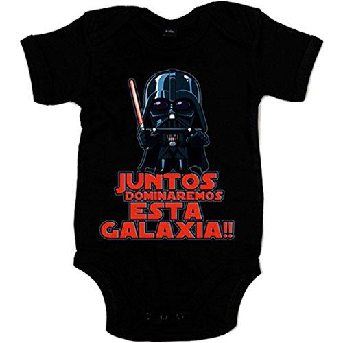 Body bebé parodia Darth Vader Juntos dominaremos esta galaxia - Negro, 6-12 meses