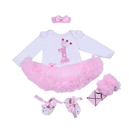 BabyPreg Bebé niñas Patrón de la Corona 1er cumpleaños Vestido Tutu Diadema Zapatos 4 Piezas...