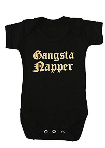 Funky Baby Grow Gangsta, pañal para niños o niñas, 1 chaleco de Hip Hop Rap para bebé, negro y...