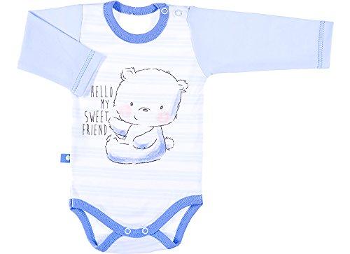 Be Mammy Body Mangas Largas Ropa Bebé BEEK0007 (Azul/Rayas, 80)