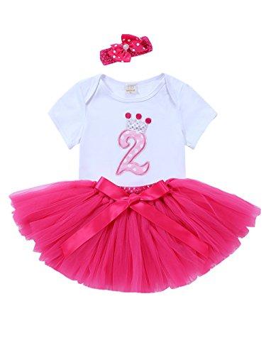 URBEAR Bebé Niña 3pcs vestido de Rosa Roja tutú+ropa+diadema Corona Patrón de primer cumpleaños...