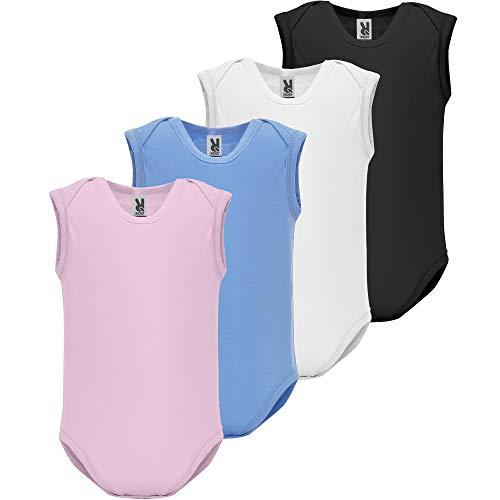 Body de Bebé   Pack 4   Tirantes   Bodie de Punto Liso   Algodón   De 3 a 18 Meses (4 Colores, 9...