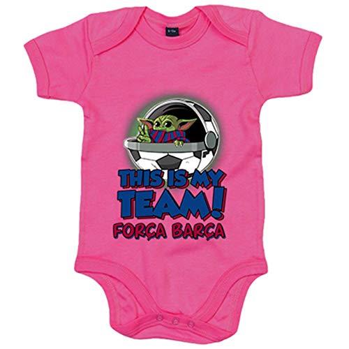 Body bebé parodia baby Yoda mi equipo de fútbol Força Barcelona - Rosa, 12-18 meses