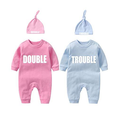 Culbutomind Twins Baby Body Doble Trouble Lindo Traje con Sombrero Bebé Pijamas Nuevo Nacido Niña...