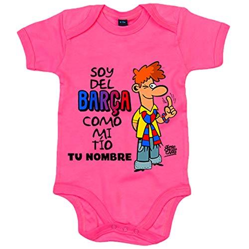Body bebé frase parodia soy del Barcelona como mi tio personalizable con nombre - Rosa, 6-12 meses