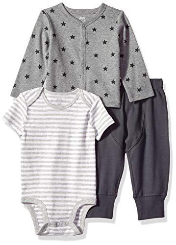 Amazon Essentials - Conjunto de 3 piezas con cárdigan para bebé, Uni Star Stripe Neutral, Bebé...