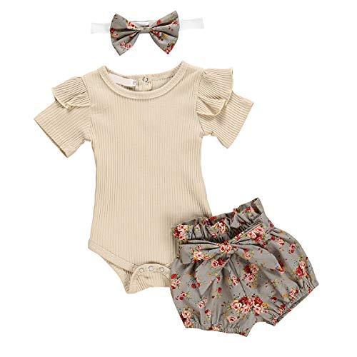 DaMohony - Recién Nacido Conjuntos Mono + Pantalones Cortos Estampados Flores Mameluco Bebés...