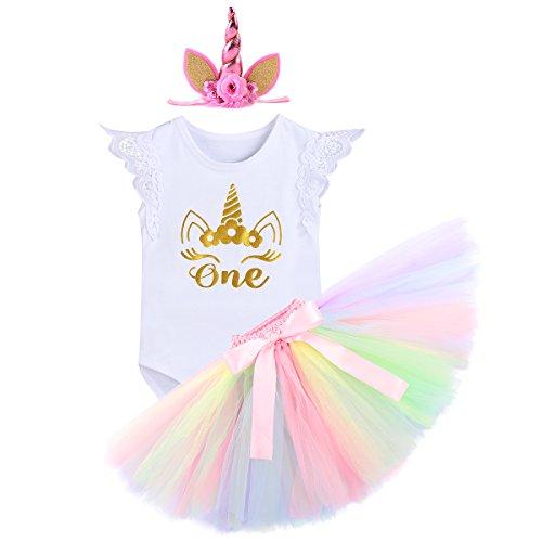IWEMEK Bebé Niñas Primer Cumpleaños Princesa Unicornio Trajes de Fiesta 3pcs Conjunto de Mameluco...