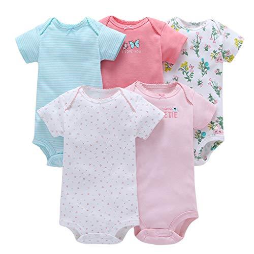 5 Piezas Bebé Body Mono de Manga Corta Mameluco Algodón Recién Nacido Pijama Bebés Juegos de...