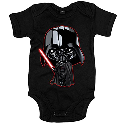Body bebé parodia Darth Vader Kawaii - Negro, 12-18 meses