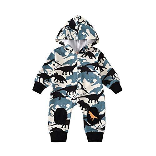 Carolilly Body para bebé con estampado de dinosaurio y capucha de manga larga para bebé, de...