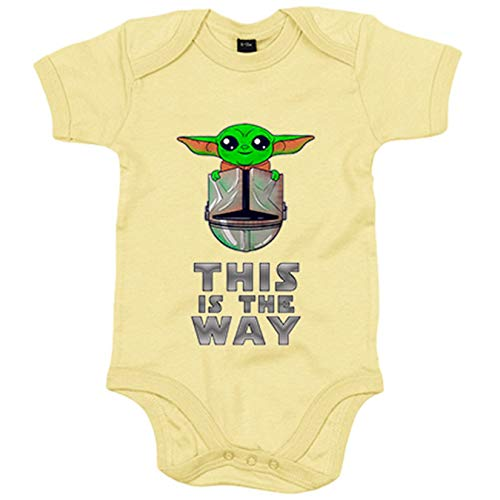 Body bebé parodia baby yoda frase This is the way - Amarillo, 6-12 meses