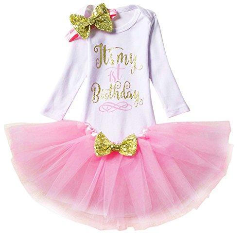 Bebé Niñas 1er / 2 ° Cumpleaños Princesa Trajes de Fiesta 3pcs/4pcs Conjunto de Mameluco + Tutú...