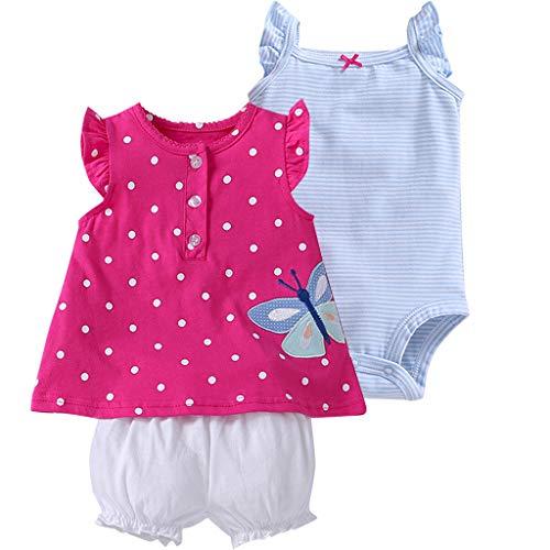 Bebé Niñas Vestido de Manga Corta + Pantalones Cortos + Body, 3 Piezas Conjuntos de Ropa 9-12...