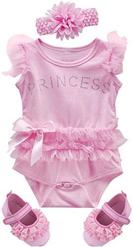 MOMBEBE COSLAND Body Bebé Niña Encaje Princesa Sin Mangas Footies Algodón (Rosa 2, 6-12 Meses)