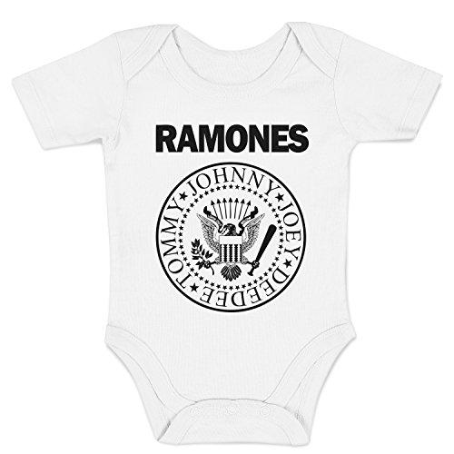 LaMAGLIERIA Body Bebè Ramones - Rock Baby Body, 0-3 MESI, Blanco