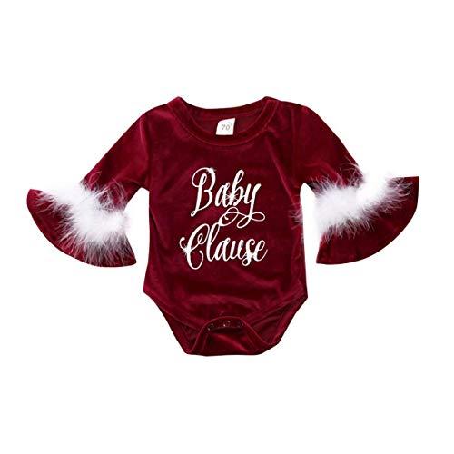 Mameluco Navidad de Bebé Recién Nacida Bodysuit Navideño Body Niña Romper con Manga Larga de...