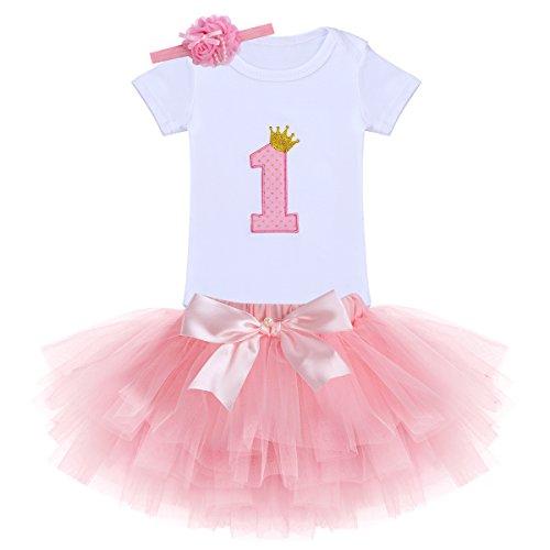 IWEMEK Bebé 1er / 2 ° Cumpleaños Unicornio Niñas Princesa Trajes de Fiesta 3pcs Conjunto de...