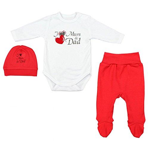 TupTam Conjunto de Ropa Bebés Body y Pantalones y Gorra, I Love Mamá y Papa Rojo, 74