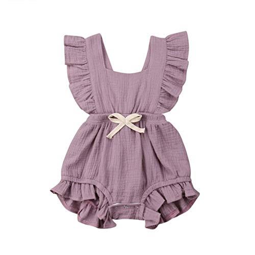 Body Infantil para bebés, bebés recién Nacidos con Volantes Mamelucos sin Mangas Mono Trajes Ropa...