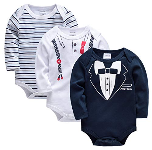 Kavkas - Mono de algodón suave para bebés de manga larga, 3 unidades, para niños y niñas, 0 a 24...