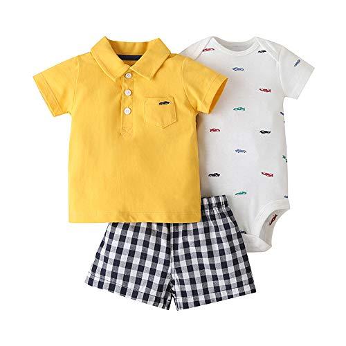 Baby Boys - Conjunto de camiseta de manga corta + body + pantalones cortos para recién nacido,...