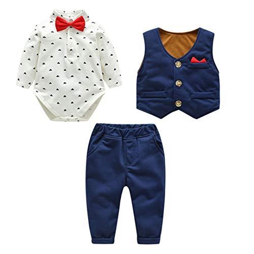Fairy Baby Baby Boys 3pcs Traje Formal para niños pequeños Caballero Body + Chaleco + Pantalones...