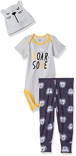 Gerber - Conjunto de body de 3 piezas, pantalón y gorro para bebé - Gris - 24 meses