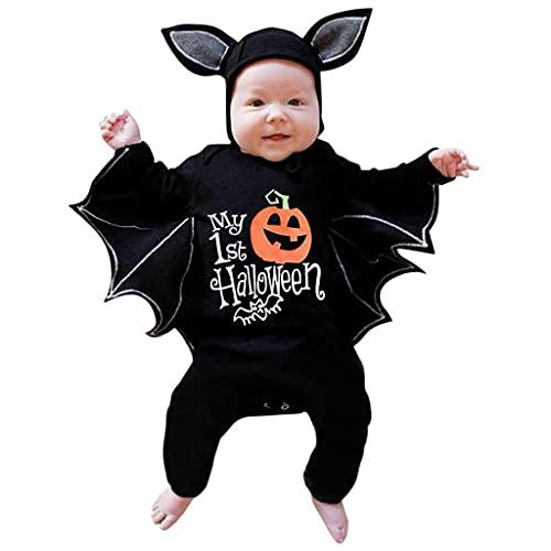 Fossen Kids Disfraz Halloween Niña Niño Bebe de Murciélago Manga Mameluco, Tops con Sombrero de...