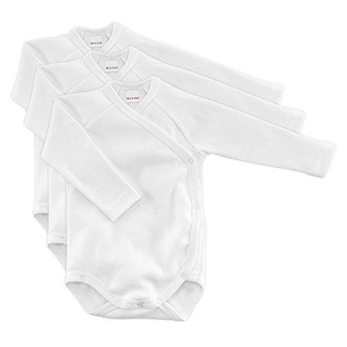 Bodi de manga larga de algodón 100% y color blanco (3 unidades) Weiß 2 mes