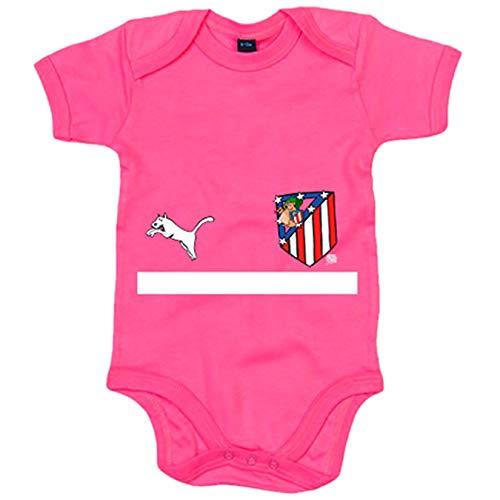 Body bebé segunda equipación Atleti de los 80 ilustrado por Jorge Crespo Cano - Rosa, Talla única...