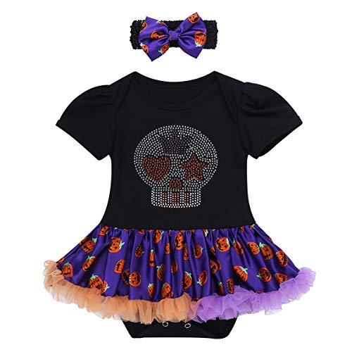 TiaoBug Disfraces Conjunto Bebé de Calabaza/Calavera Primer Halloween Mameluco Traje Costume...