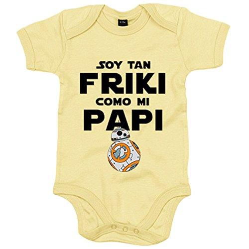 Body bebé Soy tan friki como papi - Amarillo, 6-12 meses