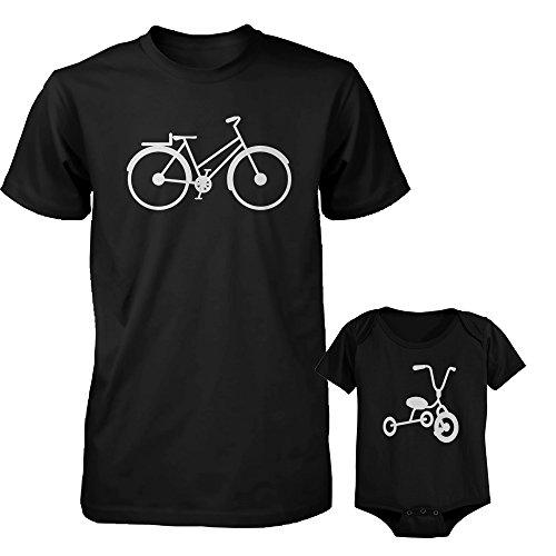 Bicicleta y triciclo negro papá y bebé a juego camisa y mono - Negro - papà-M/bebé-6 meses