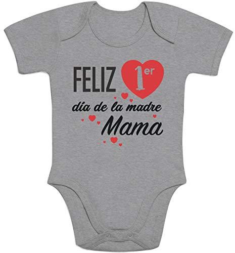 Body de Manga Corta para bebé - Regalo Feliz Primer Mamá día de la Madre 3-6 Meses Gris