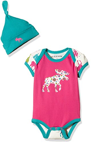 Hatley Little Blue House by LBH Infant One Piece-Pattered Moose Body, Rosa (Pink), 6-12 Meses (Talla...