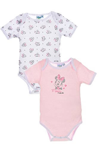 Lot De 2 Bodys Minnie Mouse, Bébé Fille (6 mois, Rose)