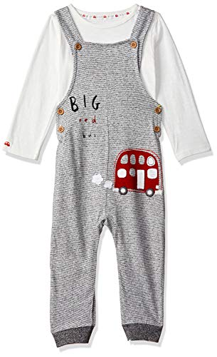 Mothercare Striped Bus Dungarees and Bodysuit Set Body, Rojo (Red 51), Nacimiento para Bebés