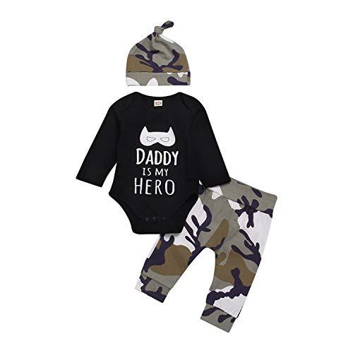 Anywow Newborn - Conjunto de 3 piezas unisex de manga larga con body + pantalones de camuflaje +...