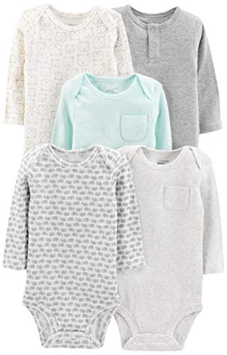 Simple Joys by Carter's Baby - Body de manga larga para bebé (5 unidades) ,Gris/Azul (Grey/Blue...