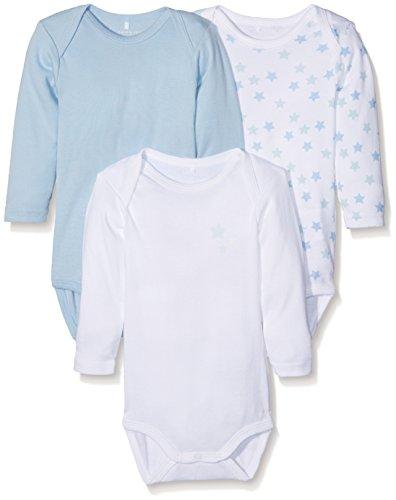 NAME IT Nbmbody 3p Ls Noos Body, Multicolor (Cashmere Blue Cashmere Blue), 62 (Pack de 3) para...