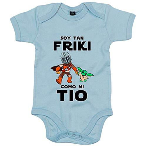 Body bebé soy tan friki como mi tio parodia baby yoda - Celeste, 6-12 meses