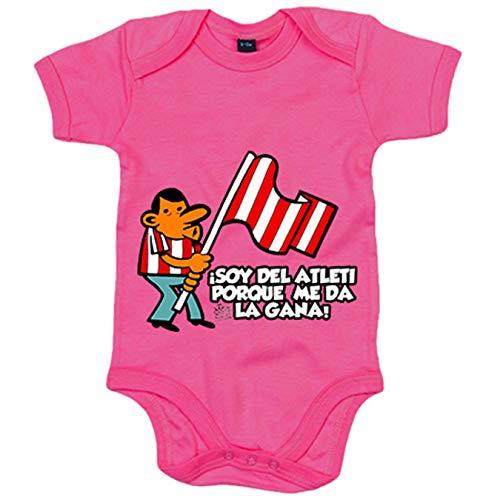 Body bebé soy del Atleti porque me da la gana ilustrado por Jorge Crespo Cano - Rosa, Talla única...