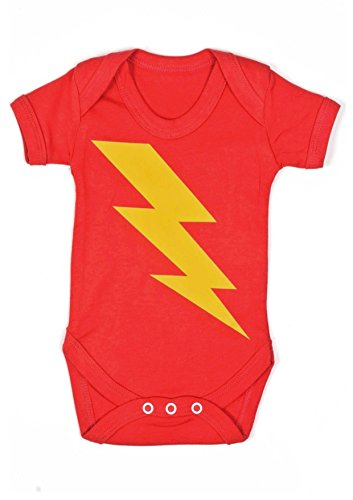 Baby Moo's Superhero Bolt - Body de manga corta unisex con estampado de relámpago Talla:0-3 Meses
