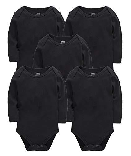 kavkas - Camisetas de manga larga para bebé (algodón suave, 5 unidades, 0 a 24 meses)