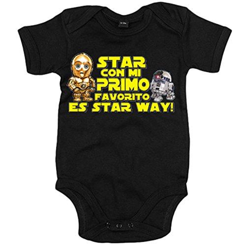 Body bebé Star con mi primo favorito es Star Way parodia androides R2D2 C3PO - Negro, 12-18 meses
