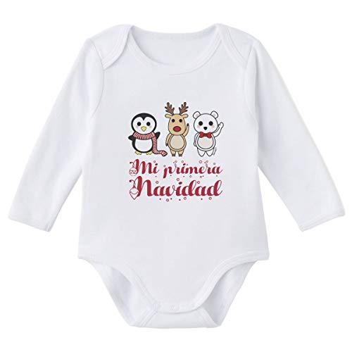 SUPERMOLON Body bebé manga larga Mi primera Navidad Blanco algodón para bebé 6-9 meses